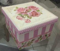 Caixa mdf decorada Rosas.