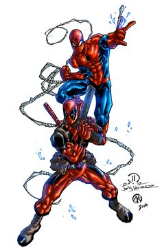Deadpool And Spider Man By Maksim Strelkov