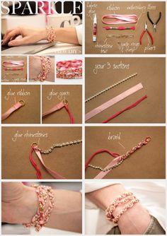 Paso a paso para hacer esta linda pulsera con cintas y strass.