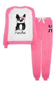 Primark - Pinkes Pyjamaset mit Bulldoggenmotiv