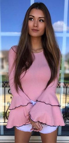 #spring #outfits  Pink Bell Sleeve Top + White Denim Short