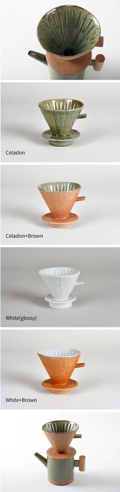 Coffee Dripper / Material : Ceramics / Size : 13X11cm / Color : Celadon, White(Glossy), Celadon+Brown, White+Brown / Characteristic : Handmade