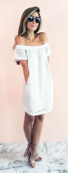 #summer #fashion / white off-the-shoulder dress