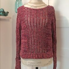 """N E W ⭐️ L I S T I N G Free People Cropped Sweater Beautiful open knit Free People cropped sweater. Gorgeous multi-colors in a variety of purples. I LOVE this piece and really hate to give it up, but it's a little short for me. Re-poshing, so this needs to find a good home!! Cami or tank recommend underneath. Shoulder to hem approx. 19.5"""", pit to pit approx. 19.5"""", sleeve approx. 28"""". 58% cotton, 42% linen. ⚡️NO TRADED PLEASE.⚡️ Free People Sweaters Crew & Scoop Necks"""