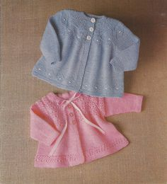 PDF Knitting Pattern Baby Matinee Coats x 2 to fit by georgie8109