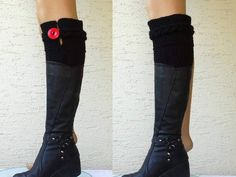 Black leg warmers boot cuffs with a big red by KnitterPrincess