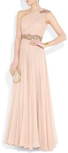 Marchesa Embellished Oneshoulder Silkchiffon Gown in Pink (blush)