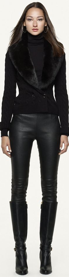 Ralph Lauren Black Label Shearling-Trim Cardigan LOOKandLOVEwithLOLO                                                                                                                                                     More