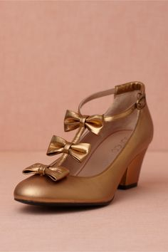 Triple-Tied T-Straps in SHOP Shoes & Accessories Shoes at BHLDN Gold Heels