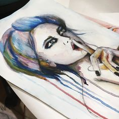 Ink, art, portrait, run, watercolour, abstract, expressionism, shhh, sarah Louise Johnson