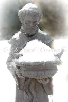 Winter Scene Card, St. Francis Card, Photography Greeting Card, Original Photography, All Occasion, 5X7 Card, Blank Card, Nature, Snow, Patron Saint,  Bucks County, Pennsylvania. Photography by CandDCardCreations