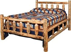 Amish Lodge Pole Log Bed