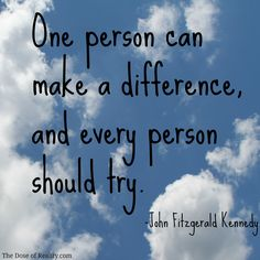 One person *can* make a difference