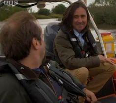 Neil & Tony enjoying a ride on a boat, The Quest for Bannockburn.