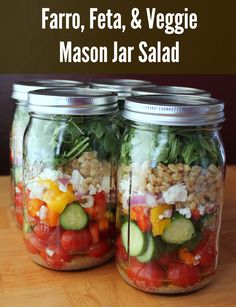 Mason Jar Salad: Farro, Feta, and Veggies. Salad in a Jar recipe