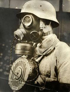 "Using a gas mask in the old days made you into a mute. The German army thus came up with this contraption during WW2 to allow ""communication"" with others. The microphone is installed inside the mask and a substantial speaker is worn around the neck. The setup is cumbersome and heavy. It did not make it into line production."