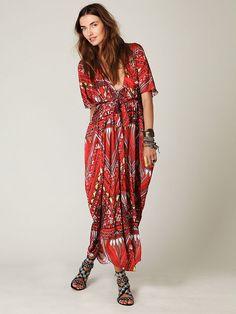 Free People Long Printed Kaftan Dress, $468.00
