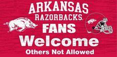"Arkansas Razorbacks Wood Sign - Fans Welcome 12""""x6"""" Z157-7846002842"