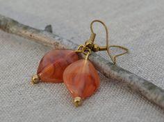 Orange dangle earrings amber swirl beads antique by IAmMineJewelry