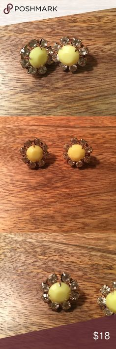 "Yellow Jeweled Stud Earrings Yellow Stones Surrounded By Clear Gems. Stud Earrings. Just under 3/4"" in diameter. Perfect condition! Light weight Jewelry Earrings"