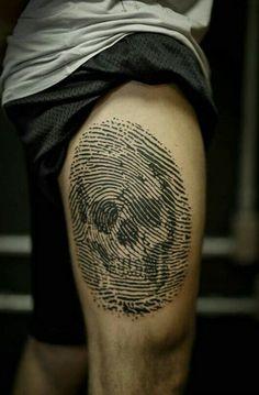 By Taiom | Brazil | #Tattoo #Skull #Fingerprint #Bitmap #Art