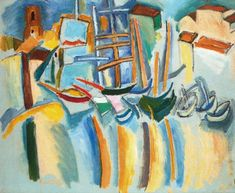 Boats on the Quay at Marseille Raoul Dufy - 1908 Raoul Dufy, Country Scenes, Scenic Design, Museum Exhibition, Cubism, French Artists, Sculpture, Drawing, Tela