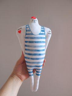 Tattoo man striped swimsuit linen art display by JessQuinnSmallArt Clay Dolls, Art Dolls, Kids Role Play, Deco Blue, Doll Display, Striped Swimsuit, Doll Head, Retro Cars, Soft Sculpture