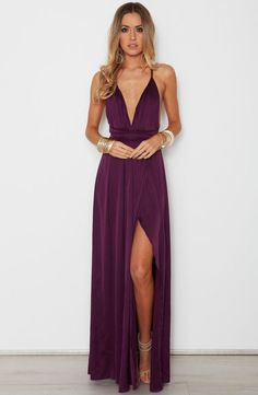 Sexy A-Line V Neck Spaghetti Straps Criss Cross Back Wine Chiffon Long Prom Dresses with Side Split,Formal Party Dresses Bridesmaid Dresses Info Cute Summer Dresses, Dress Formal, Plum Prom Dresses, Long Purple Dress, Purple Dress Outfits, Dressy Maxi Dress, Chiffon Dresses, Black Outfits, Evening Dresses