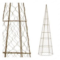 Cone Topiary frame from tomato cage and chicken wire.