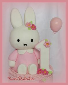 The grandfather of the the liitle girl ordered this cake! He wanted it to be a surprise for his daughters baby's first birthday and she was very surprised and happy to receive this cake! It was a lovely cake to make! First Birthday Themes, 1st Birthday Cakes, Bunny Birthday, Baby 1st Birthday, 1st Birthday Parties, First Birthdays, Birthday Board, Miffy Cake, Rabbit Cake