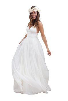 Irenwedding Women's Spaghetti Ruched Empire Waist Open Back Beach Wedding Dress White US12 at Amazon Women's Clothing store: