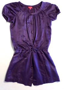 Girls Size 12 ELLA Moss Silk & Cotton Blend Shirt Dress, Tunic, Purple