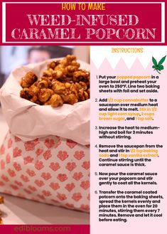 What do you get when you cross cannabis with caramel popcorn? Weed Recipes, Marijuana Recipes, Cooking Recipes, Ganja, Cannabis Edibles, Smoking Weed, Herbalism, Snacks, Popcorn