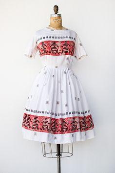 vintage 1950s orient print cotton day dress