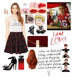 """""""Red red red."""" by chechylmiliani on Polyvore featuring art, red, 5sos, fangirl, dating and lukehemmings"""