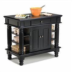Kitchen Cabinets Ideas | Home Styles 509294 Americana Kitchen Island Black Finish -- Click on the image for additional details. Note:It is Affiliate Link to Amazon. #instalove