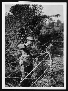 Wiring a ditch. Barbed wire was relatively cheap and easy to manufacture and…
