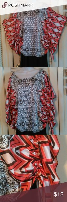 SIZE 2X HEARTSOUL BUTTERFLY TOP GOOD CONDITION, BROWN DRAW STRINGS AT BOTTOM OF SLEEVES, HARDLY NOTICEABLE PIN HOLE AT TOP OF RIGHT SHOULDER HEART SOUL Tops Blouses