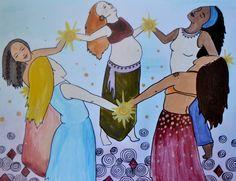 TRIBE/ x 11 art print/ sisters/ sisterhood/ goddess/ community/ red tent/ divine feminine/ mothers day by StudioSpiritYSol on Etsy (null) Sacred Feminine, Divine Feminine, Doula, Image Yoga, Birth Art, Native American Artwork, Hippie Wallpaper, Spirited Art, Goddess Art