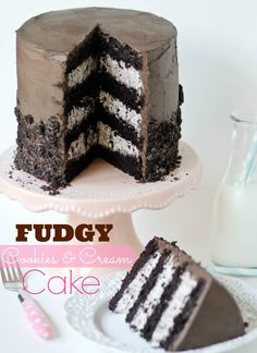 Fudgy Cookies and Cream Cake with Great Cake Decorating Tips @Krista Newall Roland