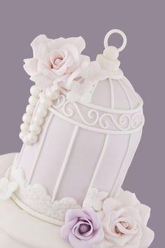 Lilac Pleated Birdcage Cake