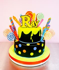 I love the black and yellow combination on this Birthday Cake Neon Cakes, Girly Cakes, Candy Cakes, Yellow Birthday Cakes, 13 Birthday Cake, Birthday Ideas, Cupcakes, Cupcake Cakes, Cake Designs For Kids