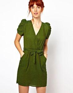 ASOS  Image 1 ofGanni Belted Dress in Polka Dot Print