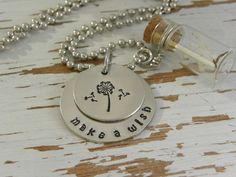 MAKE A WISH dandelion necklace - hand stamped - dandelion fluff seeds - glass jar - silver - inspirational quote - gifts for grads - wishes