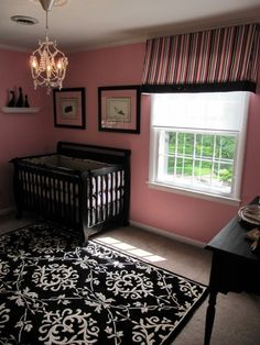 Pink & Black Baby Nursery can phoebes room be like this please I LOVE the are rug!!!