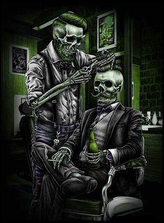 Arte Horror, Dark Wallpaper, Tattoo Art, Barber, Art Work, Skull, Fictional Characters, Clutter, Artwork