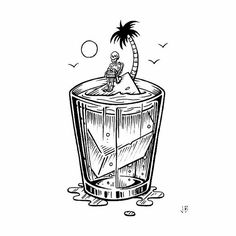 Weekend Escapism  Prints available. Link in bio #jamiebrowneart #fbf #friday #13th #flashback #escape #marooned #island #drink #think #sink #solitude #dissolve #oblivion #freakin #beachin #rum #ontherocks #ice #palmtree #skeleton #staychill #lastcall #jb