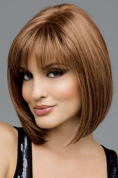 25 Top Hairstyles for Bob Haircuts With Bangs - Reny styles Blunt Bob Haircuts, Bob Haircut With Bangs, Bob Hairstyles With Bangs, Bob Haircuts For Women, Layered Bob Hairstyles, Wigs With Bangs, Straight Hairstyles, Bob Bangs, Full Bangs