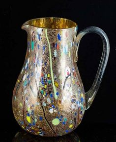 Murano Glass Pitcher with Millefiori Beads