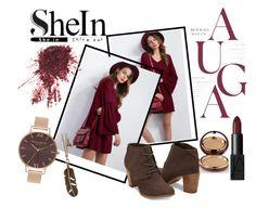 """Burgundy V-Neck Dress SHEIN"" by tammaras ❤ liked on Polyvore featuring Olivia Burton, NARS Cosmetics, Wander Beauty, dress, Elegant and shein"
